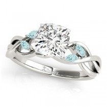 Cushion Aquamarines Vine Leaf Engagement Ring 14k White Gold (1.00ct)