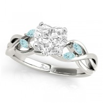 Heart Aquamarines Vine Leaf Engagement Ring 14k White Gold (1.00ct)