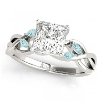 Princess Aquamarines Vine Leaf Engagement Ring 14k White Gold (1.00ct)