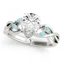 Pear Aquamarines Vine Leaf Engagement Ring 14k White Gold (1.00ct)