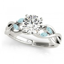 Twisted Round Aquamarines & Moissanite Engagement Ring 14k White Gold (0.50ct)