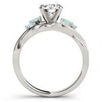 Twisted Round Aquamarines & Moissanite Engagement Ring 14k White Gold (0.50ct)