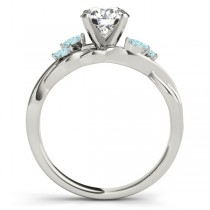 Twisted Round Aquamarines & Moissanite Engagement Ring 14k White Gold (1.00ct)