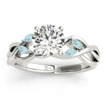 Aquamarine Marquise Vine Leaf Engagement Ring 14k White Gold (0.20ct)