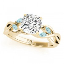 Twisted Cushion Aquamarines Vine Leaf Engagement Ring 14k Yellow Gold (1.50ct)