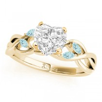 Twisted Heart Aquamarines Vine Leaf Engagement Ring 14k Yellow Gold (1.50ct)
