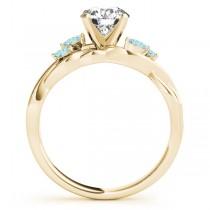 Twisted Round Aquamarines & Moissanite Engagement Ring 14k Yellow Gold (0.50ct)