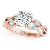 Twisted Cushion Aquamarines Vine Leaf Engagement Ring 18k Rose Gold (1.00ct)