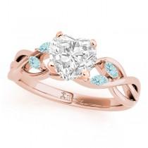 Twisted Heart Aquamarines Vine Leaf Engagement Ring 18k Rose Gold (1.50ct)