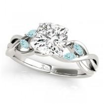 Twisted Cushion Aquamarines Vine Leaf Engagement Ring 18k White Gold (1.00ct)