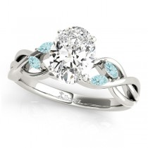 Twisted Oval Aquamarines Vine Leaf Engagement Ring 18k White Gold (1.00ct)
