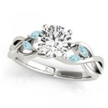 Twisted Round Aquamarines & Moissanite Engagement Ring 18k White Gold (1.00ct)