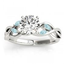 Aquamarine Marquise Vine Leaf Engagement Ring 18k White Gold (0.20ct)
