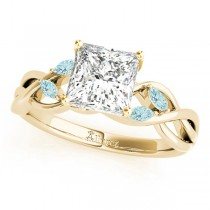 Princess Aquamarines Vine Leaf Engagement Ring 18k Yellow Gold (1.00ct)