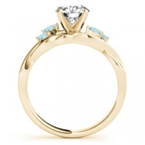 Twisted Round Aquamarines & Moissanite Engagement Ring 18k Yellow Gold (1.00ct)