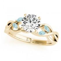 Twisted Round Aquamarines & Moissanite Engagement Ring 18k Yellow Gold (1.50ct)