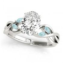 Twisted Oval Aquamarines Vine Leaf Engagement Ring Palladium (1.50ct)