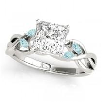 Twisted Princess Aquamarines Vine Leaf Engagement Ring Palladium (1.50ct)