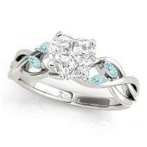 Twisted Heart Aquamarines Vine Leaf Engagement Ring Platinum (1.00ct)