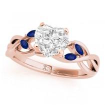 Heart Blue Sapphires Vine Leaf Engagement Ring 14k Rose Gold (1.50ct)