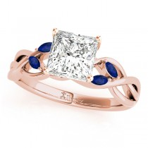 Princess Blue Sapphires Vine Leaf Engagement Ring 14k Rose Gold (1.50ct)