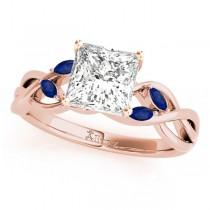 Princess Blue Sapphires Vine Leaf Engagement Ring 14k Rose Gold (1.50ct)