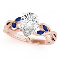 Pear Blue Sapphires Vine Leaf Engagement Ring 14k Rose Gold (1.00ct)
