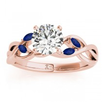 Blue Sapphire Marquise Vine Leaf Engagement Ring 14k Rose Gold (0.20ct)