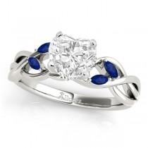 Heart Blue Sapphires Vine Leaf Engagement Ring 14k White Gold (1.50ct)