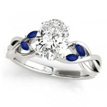 Oval Blue Sapphires Vine Leaf Engagement Ring 14k White Gold (1.00ct)