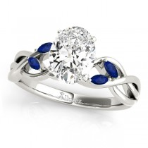 Oval Blue Sapphires Vine Leaf Engagement Ring 14k White Gold (1.50ct)