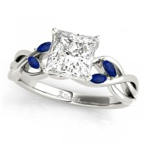 Princess Blue Sapphires Vine Leaf Engagement Ring 14k White Gold (1.00ct)