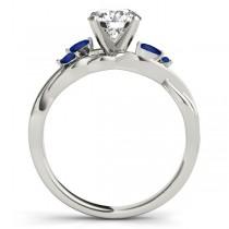 Pear Blue Sapphires Vine Leaf Engagement Ring 14k White Gold (1.50ct)