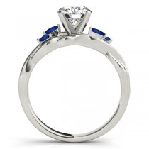 Round Blue Sapphires Vine Leaf Engagement Ring 14k White Gold (0.50ct)