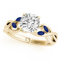 Cushion Blue Sapphires Vine Leaf Engagement Ring 14k Yellow Gold (1.50ct)