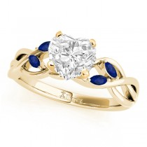 Heart Blue Sapphires Vine Leaf Engagement Ring 14k Yellow Gold (1.50ct)