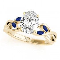 Oval Blue Sapphires Vine Leaf Engagement Ring 14k Yellow Gold (1.00ct)