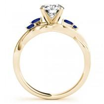 Princess Blue Sapphires Vine Leaf Engagement Ring 14k Yellow Gold (1.50ct)
