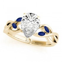 Pear Blue Sapphires Vine Leaf Engagement Ring 14k Yellow Gold (1.00ct)