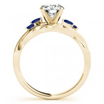 Twisted Round Blue Sapphires & Moissanite Engagement Ring 14k Yellow Gold (1.50ct)