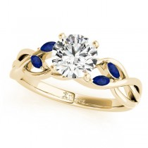 Round Blue Sapphires Vine Leaf Engagement Ring 14k Yellow Gold (1.00ct)