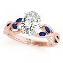Oval Blue Sapphires Vine Leaf Engagement Ring 18k Rose Gold (1.50ct)