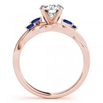 Twisted Round Blue Sapphires & Moissanite Engagement Ring 18k Rose Gold (0.50ct)