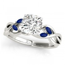 Cushion Blue Sapphires Vine Leaf Engagement Ring 18k White Gold (1.50ct)