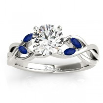 Blue Sapphire Marquise Vine Leaf Engagement Ring 18k White Gold (0.20ct)