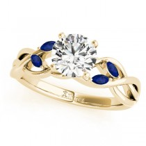 Twisted Round Blue Sapphires & Moissanite Engagement Ring 18k Yellow Gold (0.50ct)