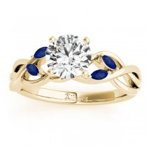 Blue Sapphire Marquise Vine Leaf Engagement Ring 18k Yellow Gold (0.20ct)