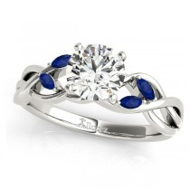 Twisted Round Blue Sapphires & Moissanite Engagement Ring Palladium (0.50ct)