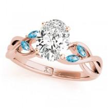Twisted Oval Blue Topaz Vine Leaf Engagement Ring 14k Rose Gold (1.00ct)