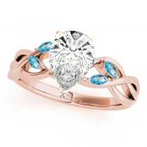 Twisted Pear Blue Topaz Vine Leaf Engagement Ring 14k Rose Gold (1.50ct)